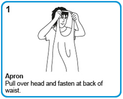 Apron - Pull over head and fasten at back of waist.